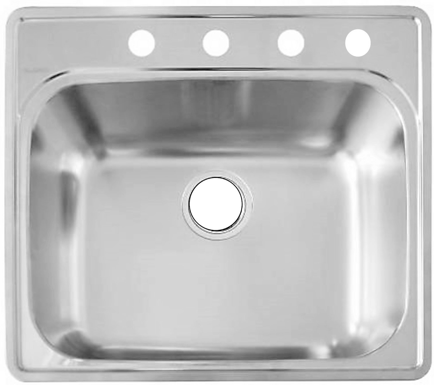 As110 25 X 22 X 8 20g Single Bowl Topmount Builder Stainless Steel Kitchen Sink Amerisink