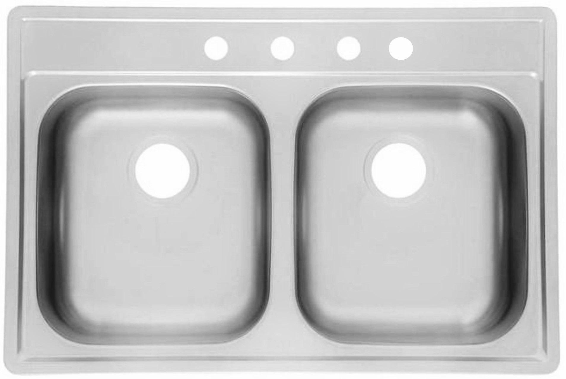 "AS111 33"" x 22"" x 8"" 8"" 20G Double Bowl Topmount Builder Stainless"