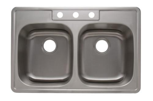 "Top Mount Stainless Steel Kitchen Sinks as1372 33"" x 22"" x 8"" 20g single bowl topmount economy stainless"