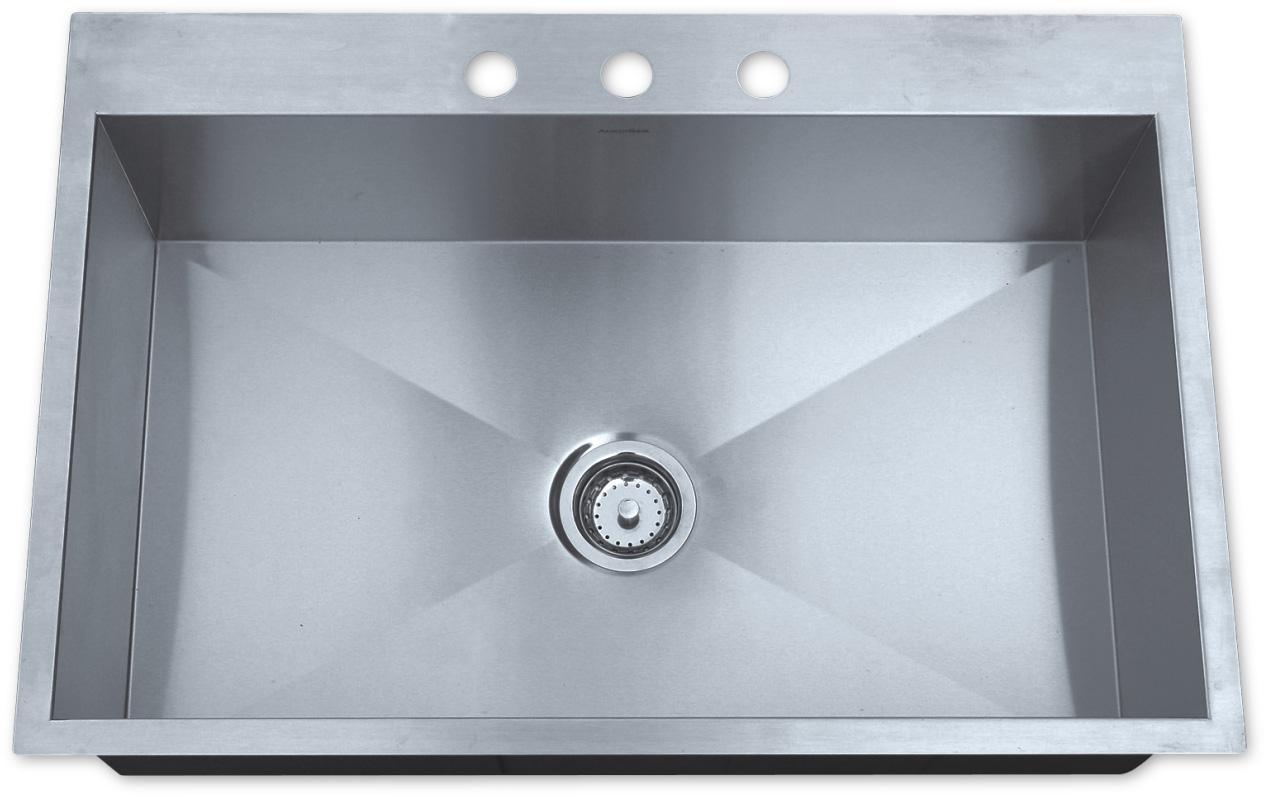 topmount ss kitchen sink as325 33   x 22   x 10   16g single bowl topmount legend stainless      rh   amerisink com