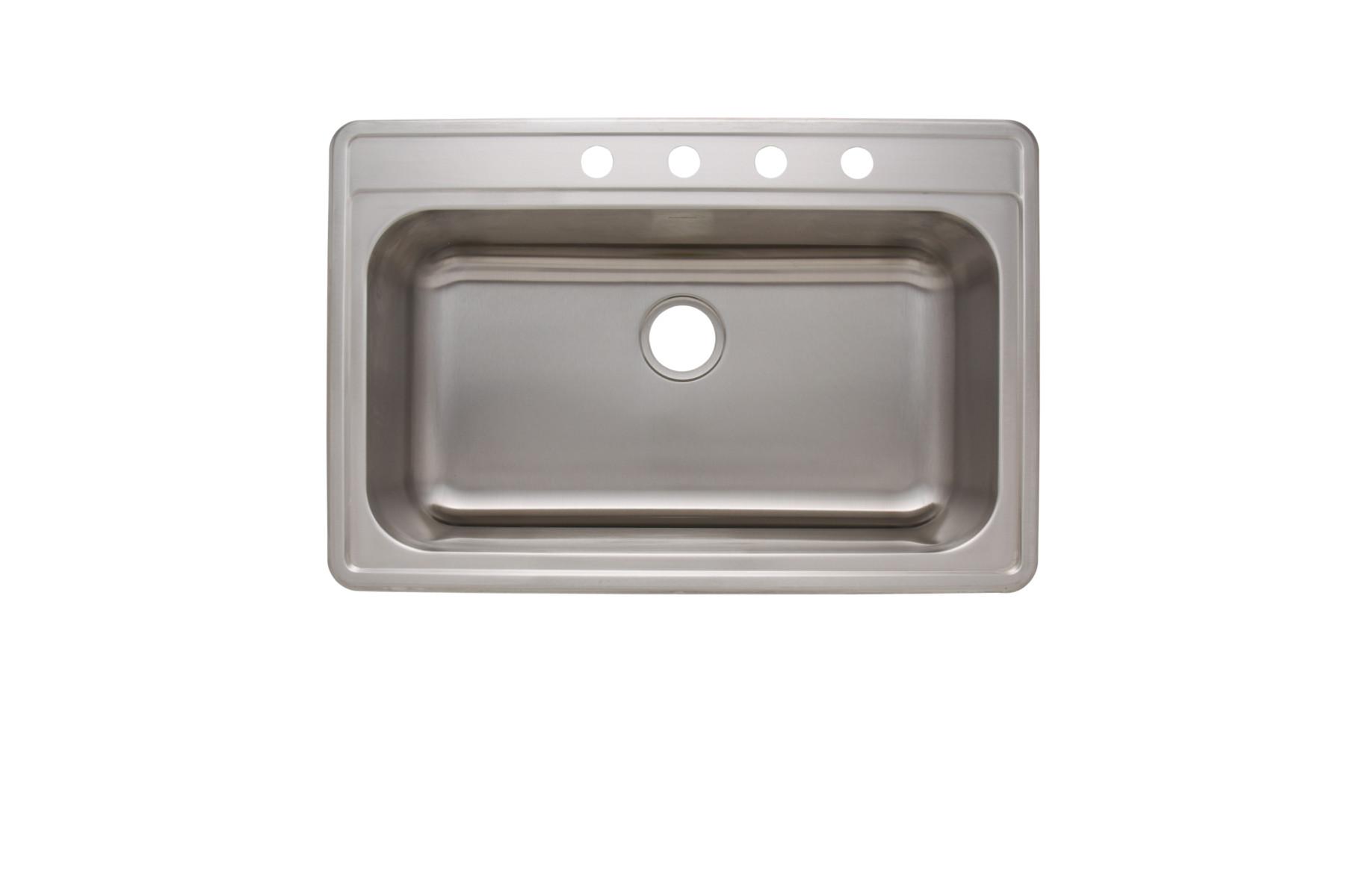 topmount ss kitchen sink           as1376 33   x 22   x 6   18g single bowl topmount economy stainless      rh   amerisink com