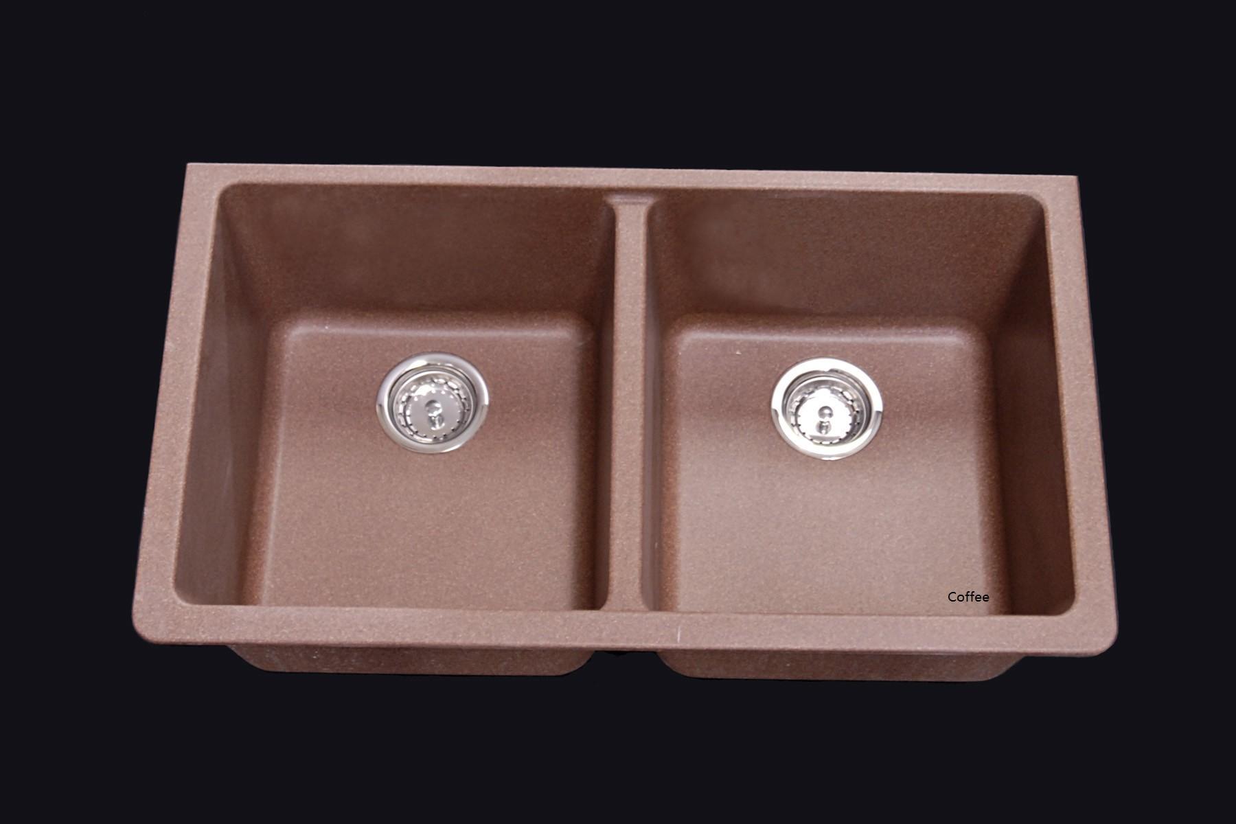 as615 32 x 18 5 x 9 9 double bowl undermount granite posite