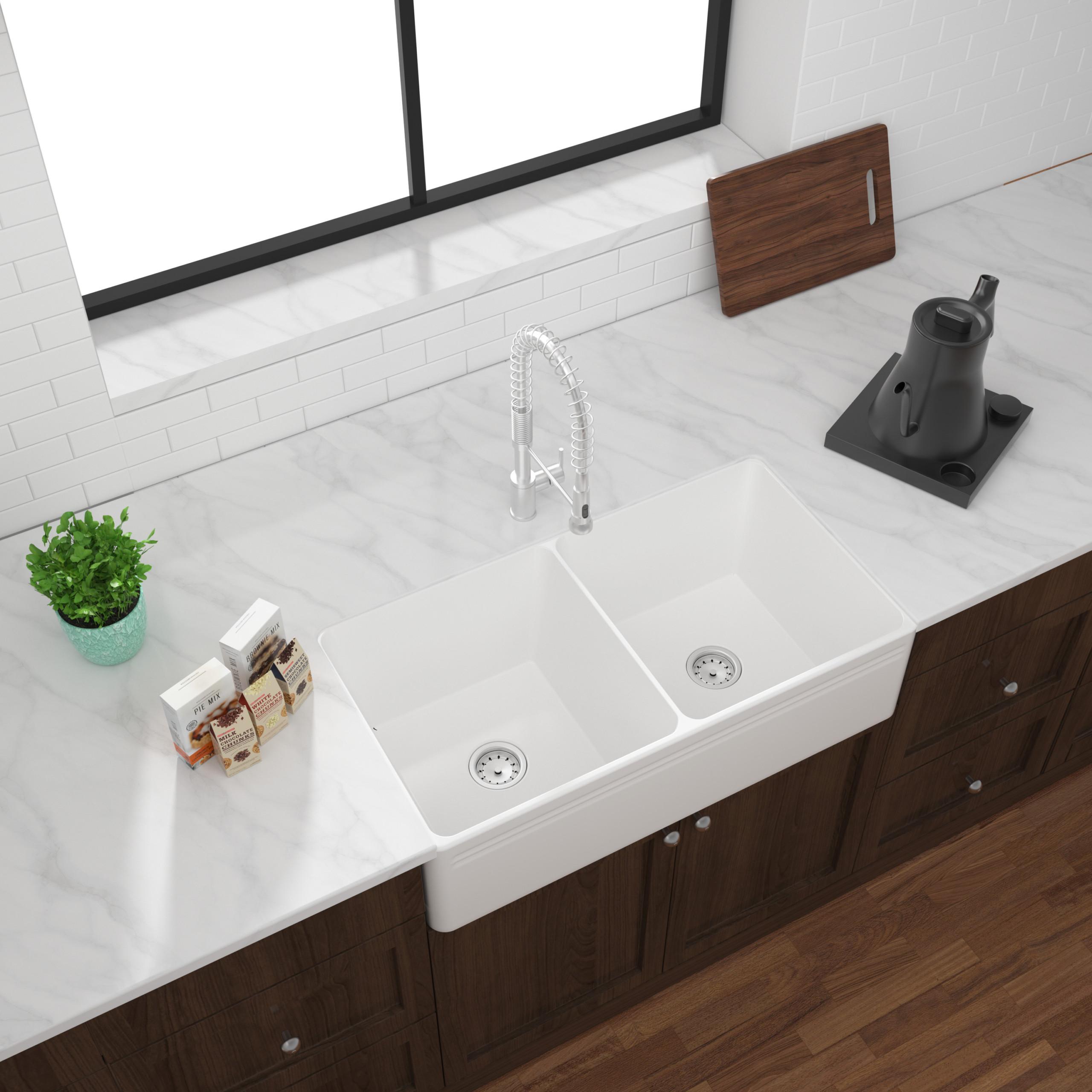 As243 33 25 X 18 X 10 10 Double Bowl Apron Porcelain Kitchen Sink Amerisink