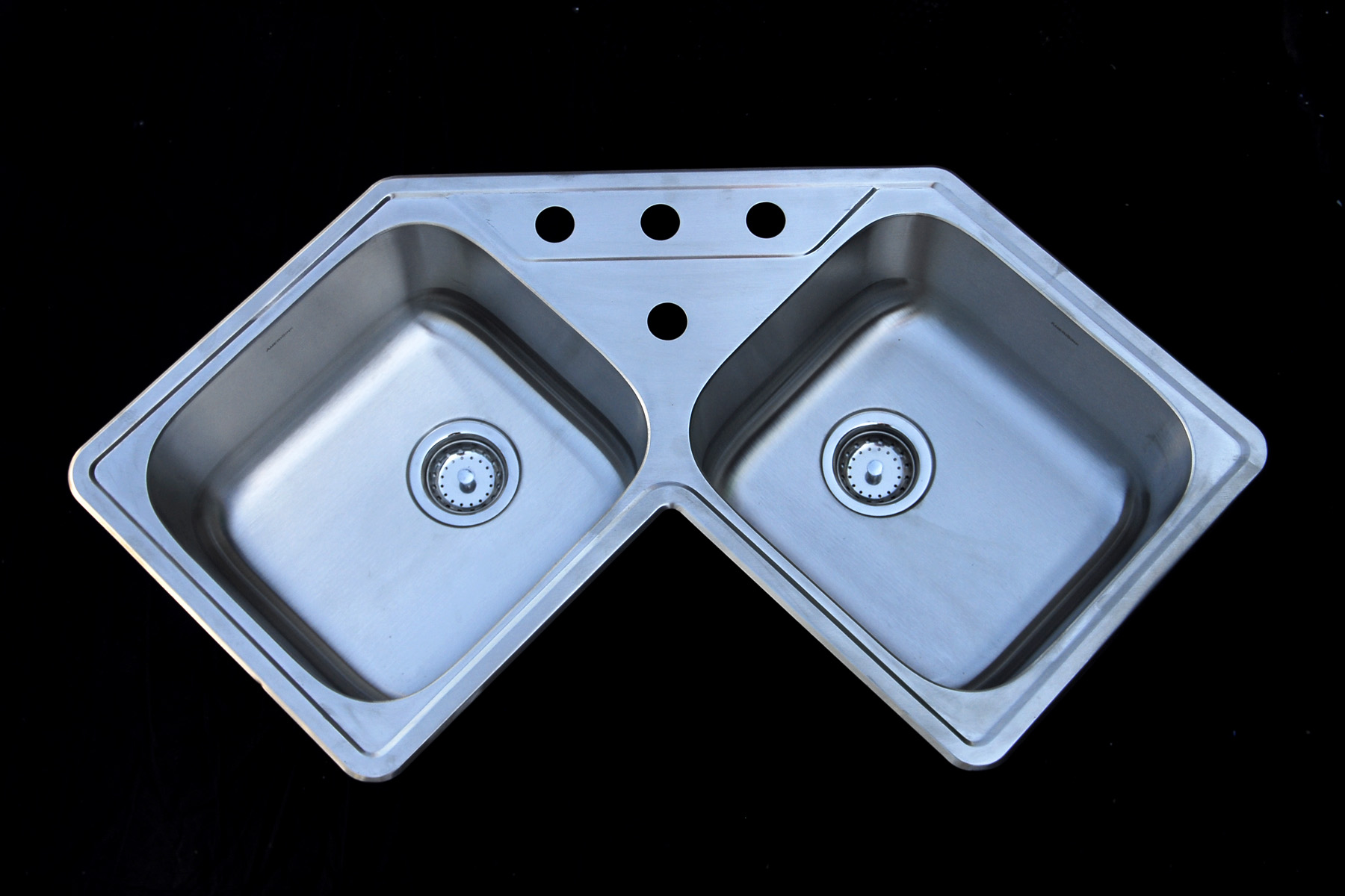 As139 32 X 32 X 8 8 18g Double Bowl Topmount Trend Stainless Steel Corner Kitchen Sink Amerisink