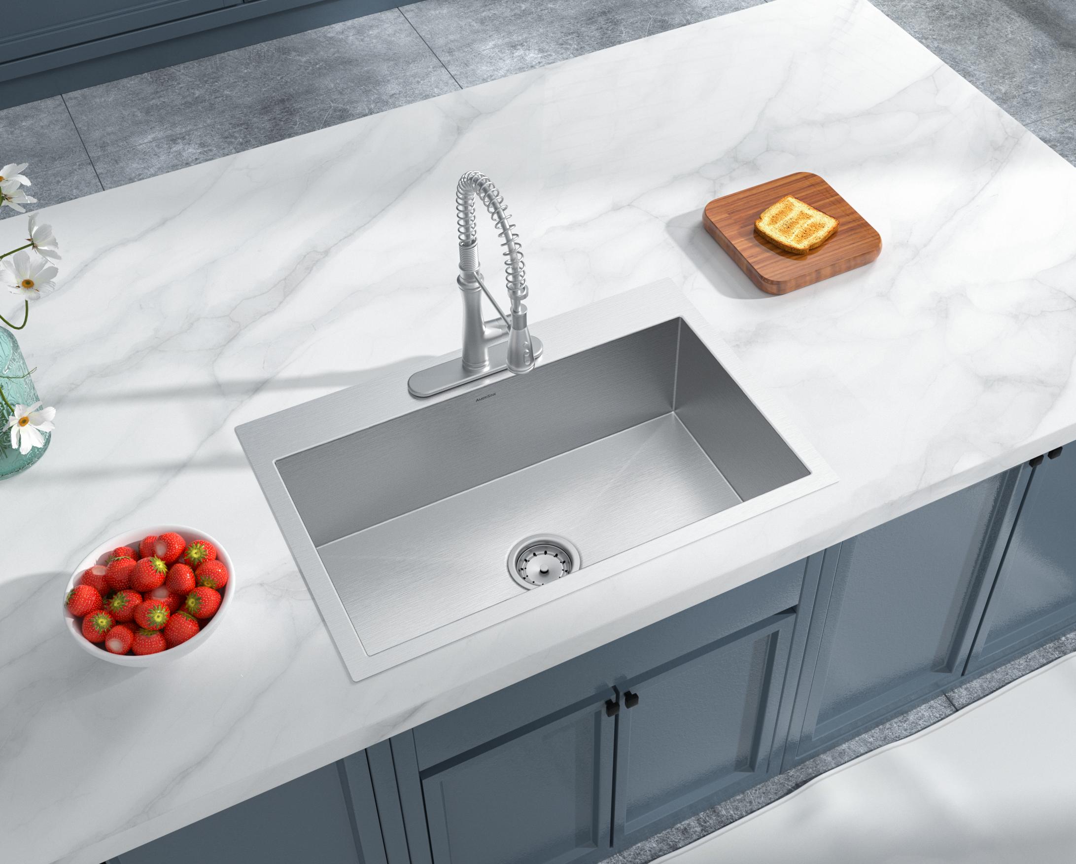 As325 33 X 22 X 10 16g Single Bowl Dual Mount Legend Stainless Steel Kitchen Sink Amerisink