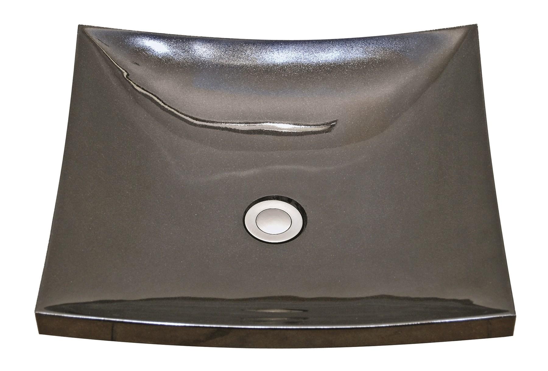 AS705B 17u2033 X 17u2033 X 5u2033 Absolute Black Vessel Natural Stone Sink