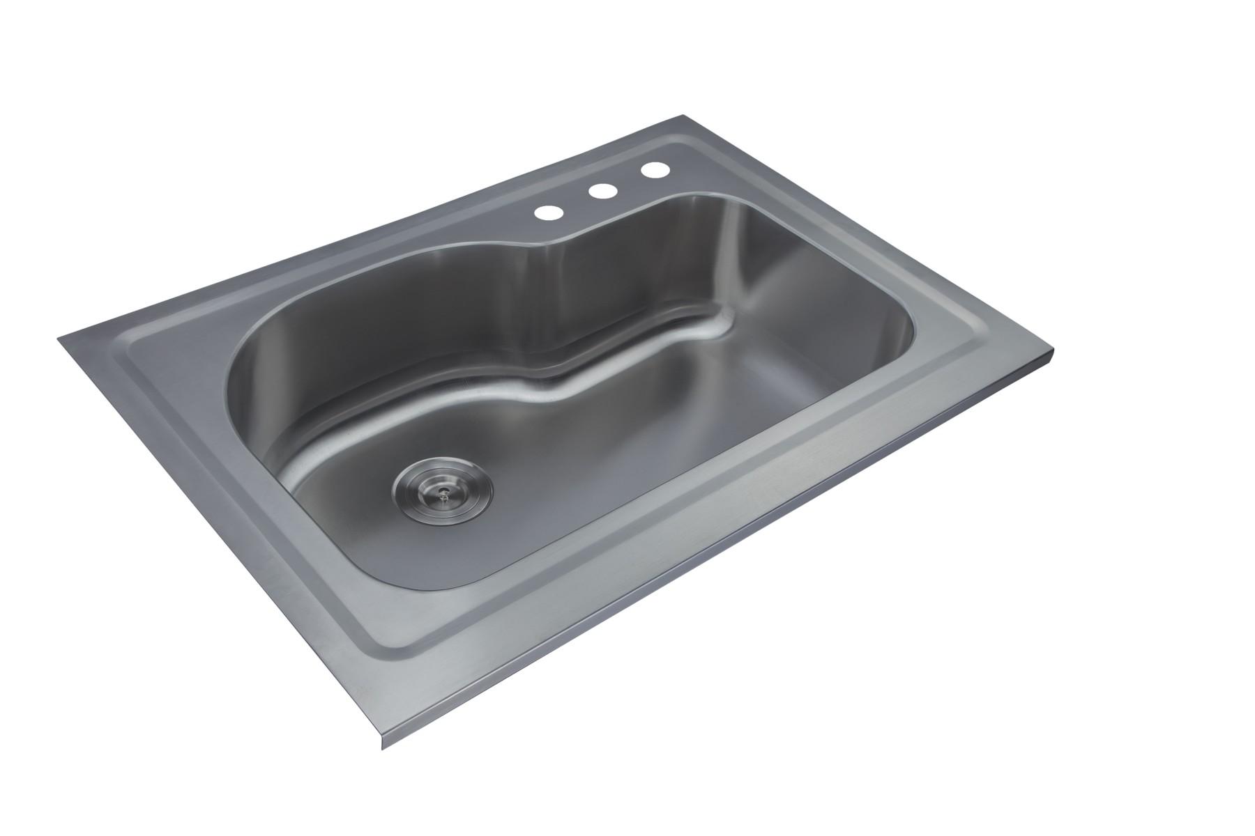 AS143 35.6u2033 X 25.5u2033 X 9.25u2033 18G Single Bowl Slide In Topmount Economy  Stainless Steel Kitchen Sink